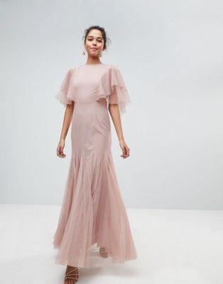 Tulle Godet Flutter Sleeve Maxi Dress in 2019  83f69ede7be