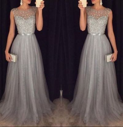 Grey Beaded Top Shinning Tulle Elegant Cheap Long Prom Dresses, WG718