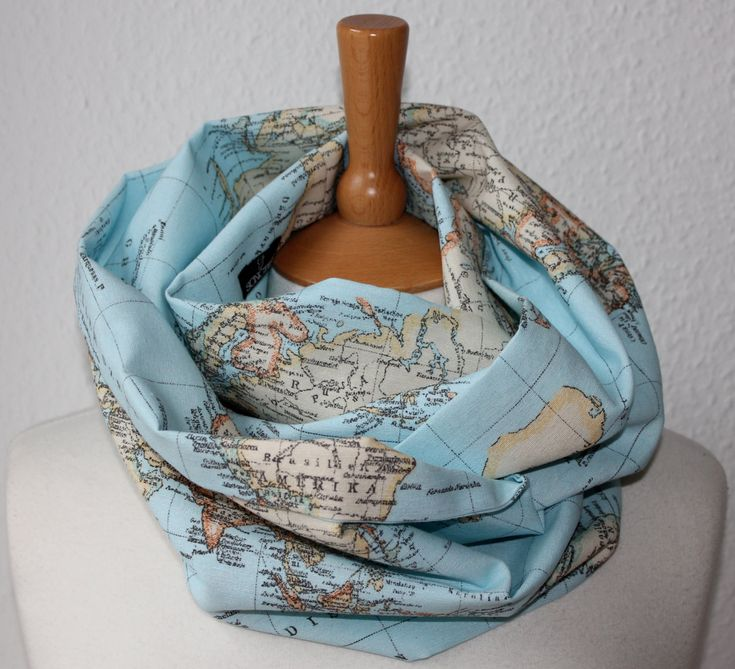 Unisex Loop/ Scarf/ map of the world/ blue/ grey - All around the world. €25.90, via Etsy.