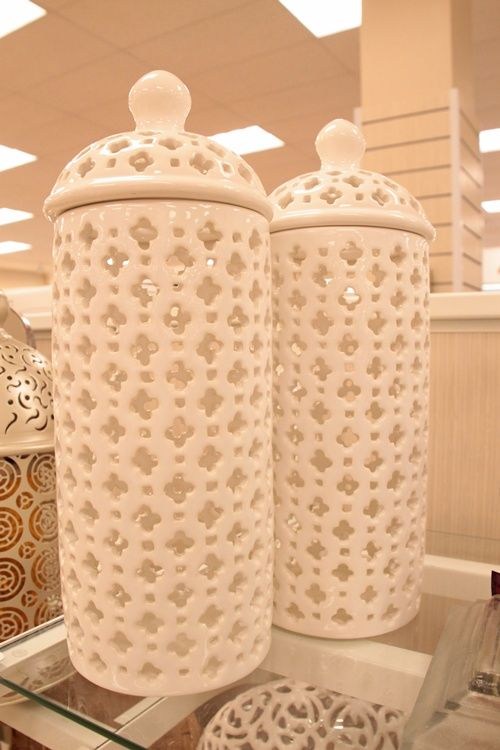 Home Goods - how cool are these jars? Imagine if you put tealights in them for Christmas / winter on the mantel.