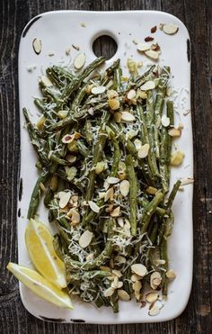 Green Beans with Lemon, Roasted Garlic, Parmesan, and Toasted Almonds