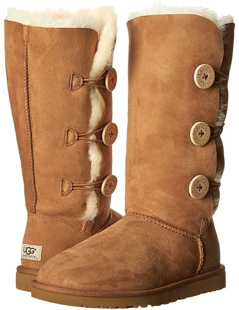 $219, Tan Uggs: UGG Bailey Button Triplet. Sold by Zappos. Click for more info: http://lookastic.com/women/shop_items/132194/redirect
