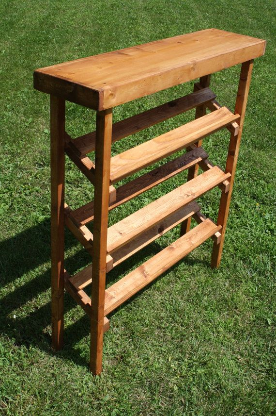 Rustic American Walnut Stained Shoe Rack Tier Shelf Angled Plus Top Framework 10 1 2 Quot X 42 Quot X 46