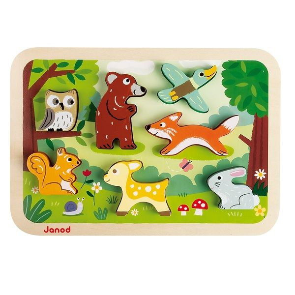 Puzzle en bois Chunky Forêt Janod | Acheter sur Greenweez.com