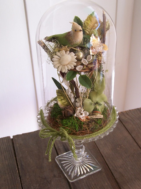 Bird at Home Bell Jar Assemblage by the wonderful Katie Runnels - this reminds me of my dear Jane and creations like this she used to do