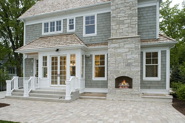 Dream home Colors with the Stone <3Home Colors, Dreams Home, Stones Patios, Exterior, House, Outdoor Fireplaces, Patios Fireplaces, Back Patios, Outside Fireplaces