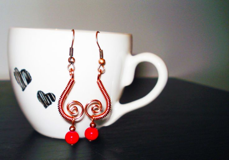 Copper Earrings with Red Ceramic Beads by IALINA