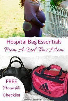 Hospital Bag Essentials from a 2nd time mom. Free Printable checklist inside #delivery #hospitalbag #pregnancy #postpartum #afterbith #homebirth #safedelivery #checklist