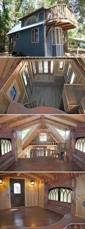The 1904 is an 18' tiny house built by Molecule Tiny Homes. The distressed exterior and antique finishes give it the appearance of a hundred year old house. by chrystal
