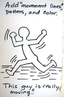 "Good tutorial for drawing Keith Haring figures ""moving"""