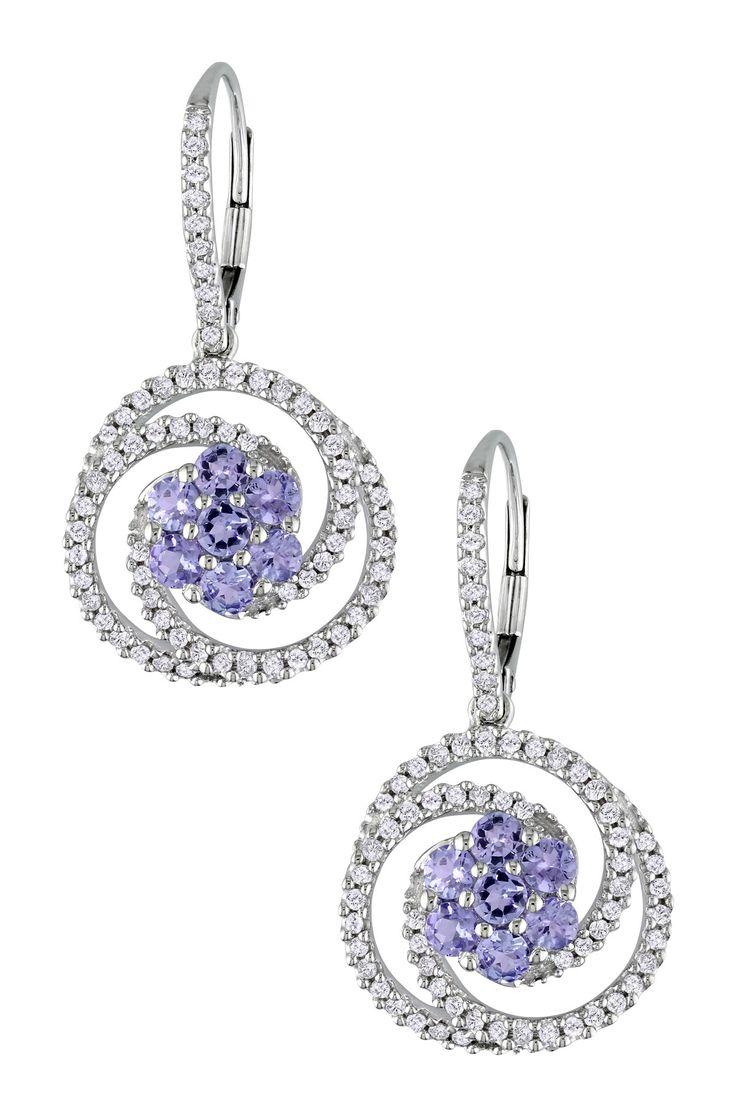 14K White Gold Diamond Halo Tanzanite Drop Earrings - 0.75 ctw