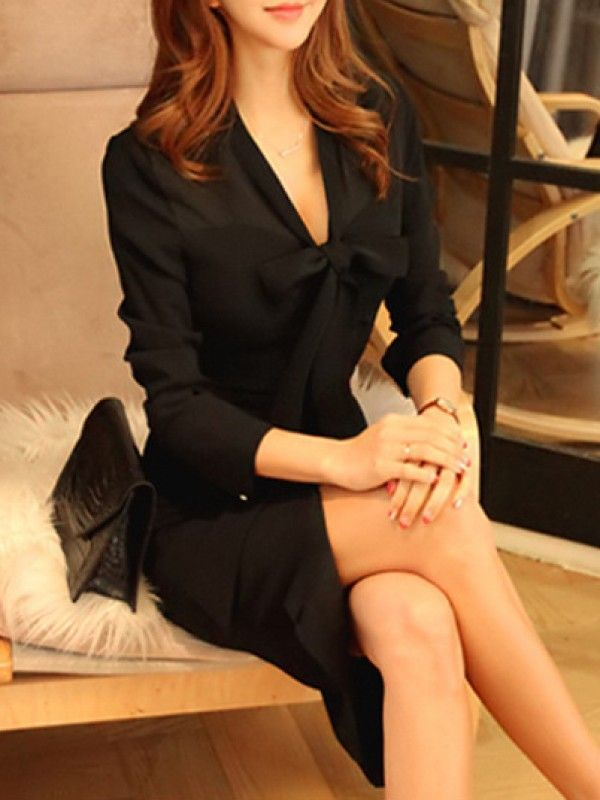 秋の新しい 気質いい スリム レディース セクシー Vネック 長袖 セレブ愛用 OL通勤 ワンピース - レディースファッション激安通販 20代·30代·40代ファッション