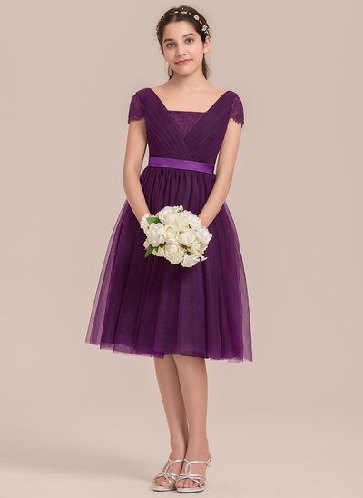 A-Line/Princess Square Neckline Knee-Length Tulle Junior Bridesmaid Dress With Ruffle