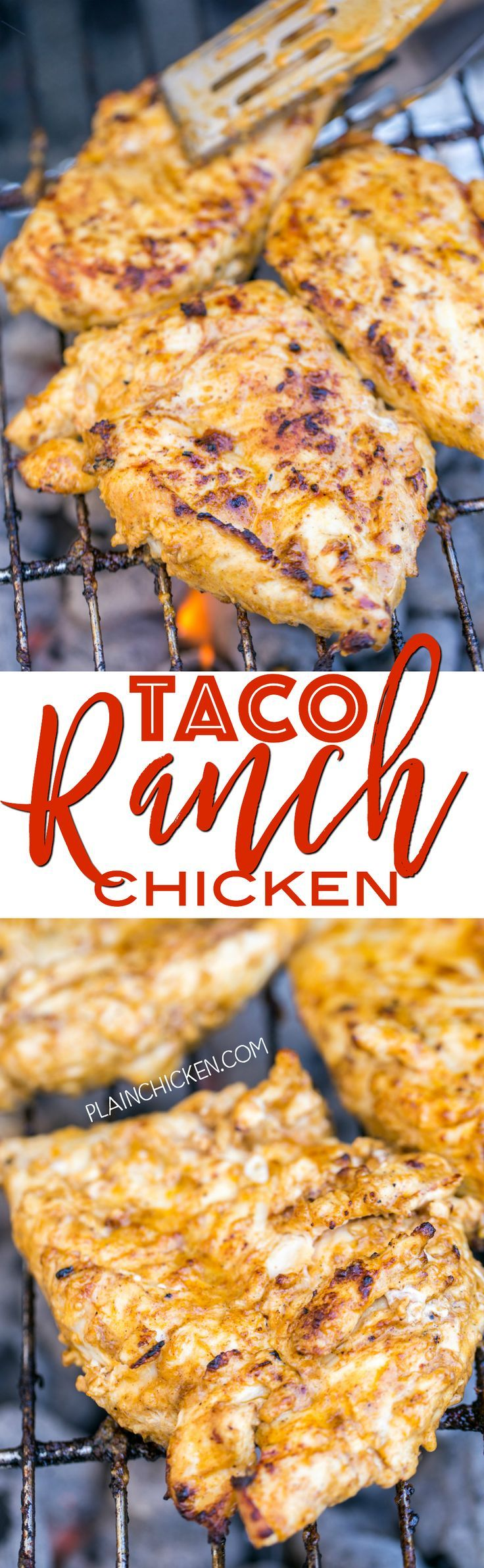 Taco Ranch Chicken - our favorite! SO easy and this tastes delicious! Only 6 ingredients - olive oil, Ranch dressing, taco seasoning, lime juice, vinegar and chicken. Great on its own or on top of a salad or in tacos and quesadillas. We make this at least