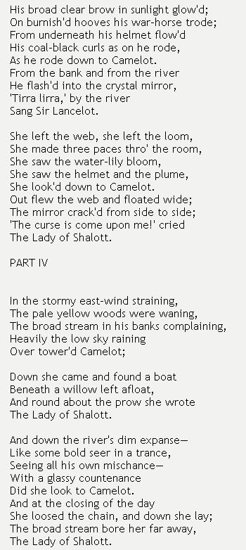 """the growth of consciousness in the lady of shalott by lord alfred tennyson A most engaging aspect of """"the lady of shalott,""""† and of tennyson and for various cultural reasons — such as the rapid growth all consciousness."""