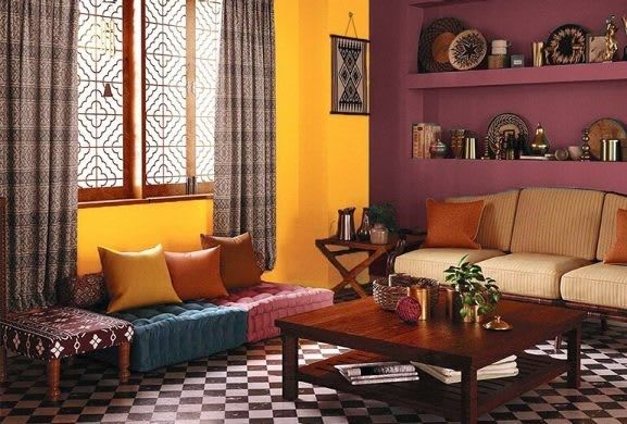 Make A Strong Statement With Some Burgundy Along With A Stunning Bright Yellow Shades Used X109 Mango Mood X129 Burgundy Asian Paints Painting Services Home