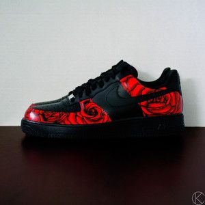 Custom hand painted rose floral mens air force ones size 11 ...