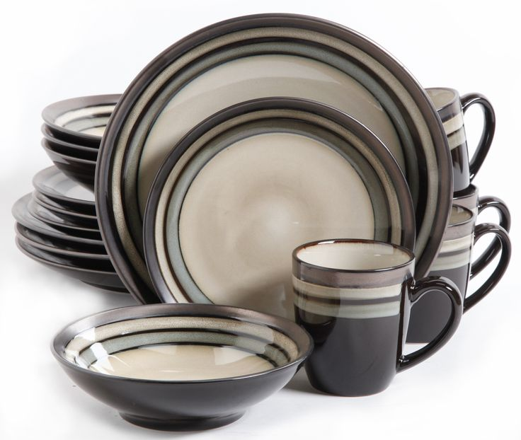 Neutral Reactive Glaze 16-Piece Round Stoneware Dinnerware Set $51.30