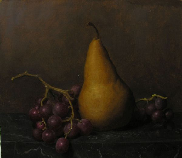 Pear and Grapes by Justin Wood