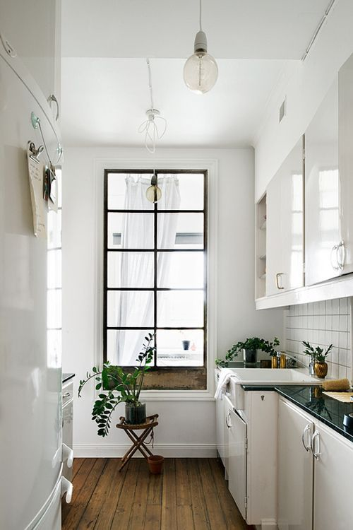 black window frame surrounded by white