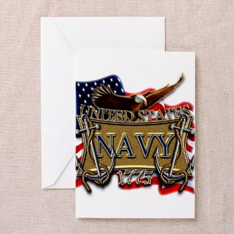 us navy flags | ... Greeting Cards > US Navy Flag Anchors and Eagl Greeting Cards (Pk o