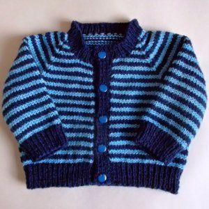 Simple Striped Baby Cardigan   AllFreeKnitting.com