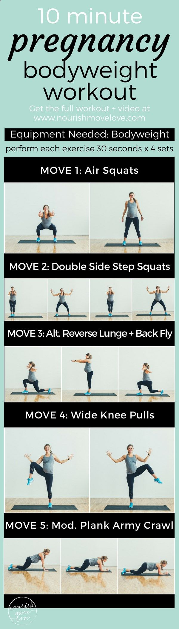 Effective 10 minute, total body workout for the pregnant mom, new mom, and busy mom. Combines bodyweight strength training exercises with low impact cardio. Perfect for naptime or a short total body burn. Air squats, double side step squats, reverse lung back fly, wide knee pulls, modified plank army crawl. Full workout with video www.nourishmovelo...
