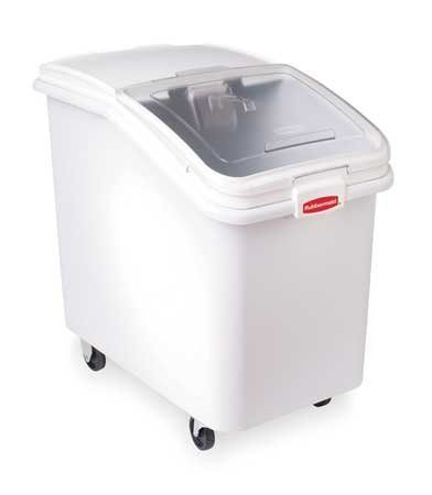 RUBBERMAID 3603-88 Bin,Mobile Ingredient by RUBBERMAID. $235.94. Mobile Ingredient Bin, Capacity 31 Gallons, Outer Length 29 3/4 Inches, Outer Height 28 Inches, Width 18 Inches, Bulk Storage with Sliding Lid, White
