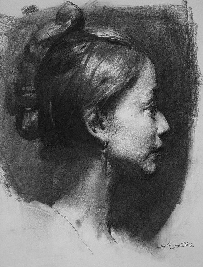 Рисунок углем портрет сидела своем