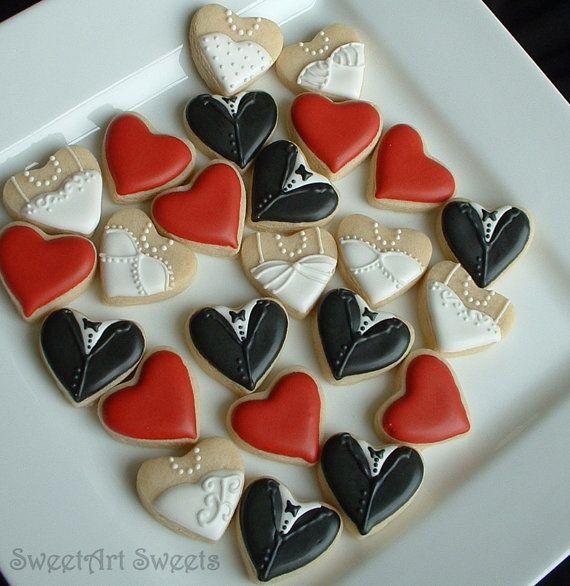 Wedding cookies - Mini bride and groom heart cookies - 2 dozen on Etsy, $32.88 AUD