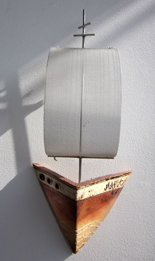Sailboat Ceramic Wall Sculpture Τοίχος -Μικρές Συνθέσεις   Teki Anastasaki Ceramics
