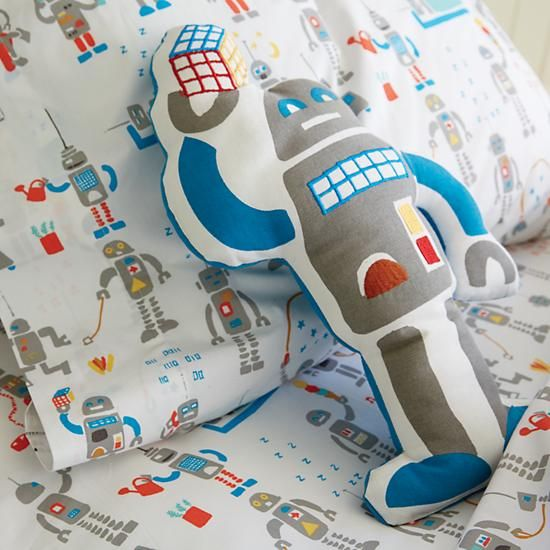 Shop Rad Robot Sheet Set.  We specifically programmed this robot bedding to be both rad and comfortable.  The colorfully printed robots that adorn the sheet set definitely make it rad.
