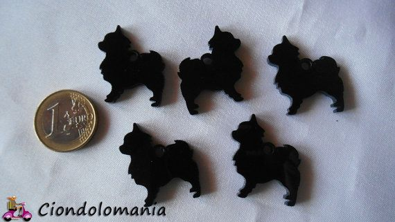 No. 5 long haired chihuahua pendants in black by Ciondolomania