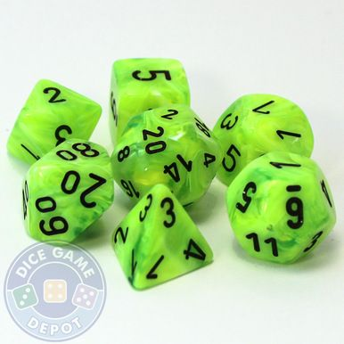 This set of bright green Vortex dice with yellow numbers contains the following dice: 1 four-sided dice (d4) 1 six-sided dice (d6) 1 eight-sided dice (d8) 1 ten-sided dice (d10) 1 percentile dice (d%)