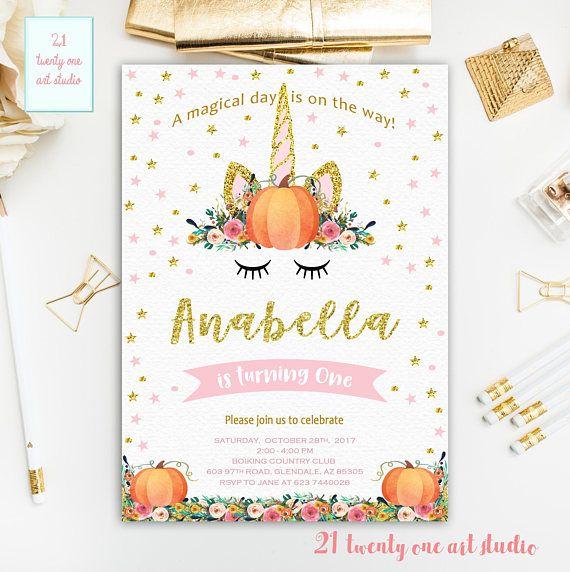 Pumpkin Invitation Unicorn Pumpkin Birthday Invitation Pink