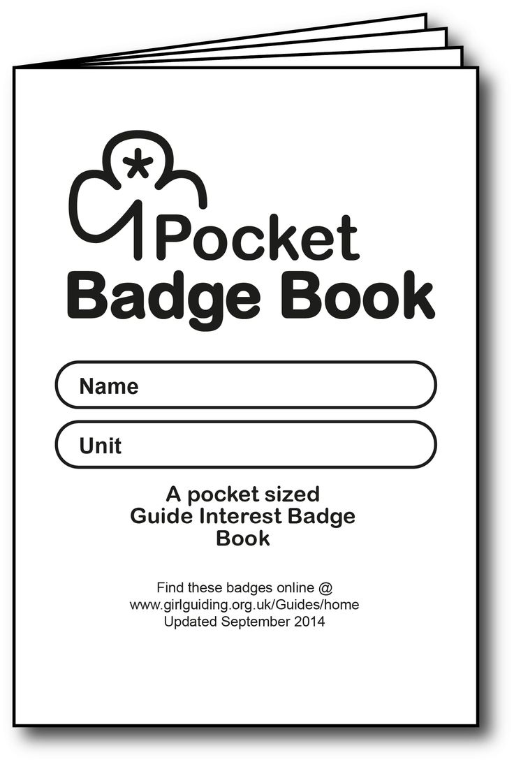 A pocket sized Interest Badge Book for Guides designed for black and white printing / copying.