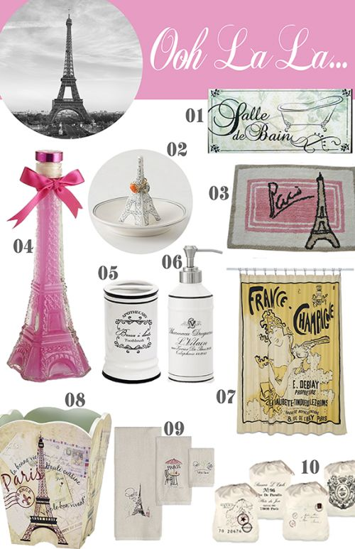 10 paris items for the bathroom girls paris themed for Paris inspired bathroom ideas
