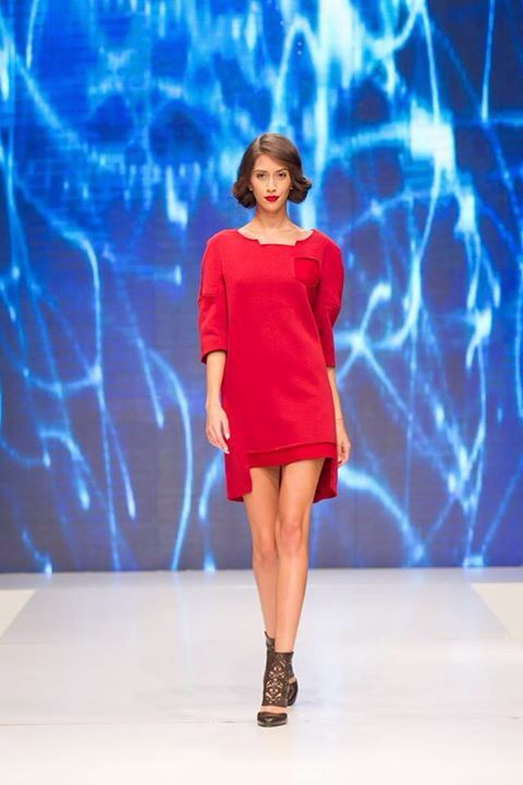 """Look #3 from our FW15 collection, """"SandStorm"""". If you like this look, you can find it online and on demand! For every purchase, you get a makeup bag! Outfit beautifully worn by Yasmine Ody , comprised of the #softcotton #vertebrae #reddress! Shoes by Bianca Georgescu. #starwars #inspiration #fw15"""