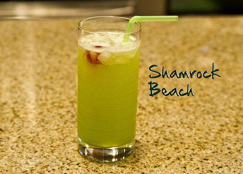 Shamrock Beach: Beaches Pineapple, Recipe, Green Beer, Shamrock Beaches, Adult Beverages, Shamrock Beer, Coconut Rum, Sprites Coconut, Beaches Drinks