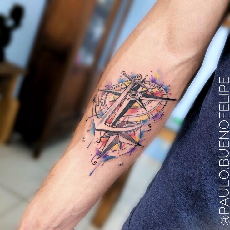 Tattoo ancora, bússola aquarela  By @paulo.buenofelipe Psychedelic Tattoo