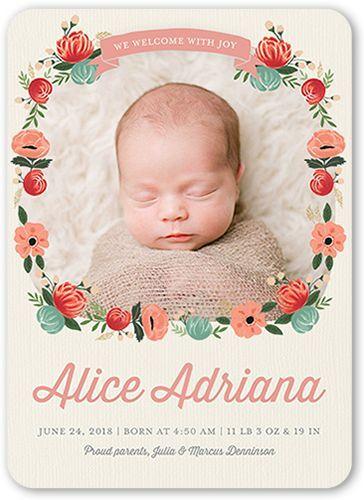 Birth Announcement: Floral Wreath Newborn, Rounded Corners, Beige
