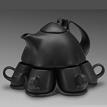 """Small Set for Six  Small Set for Six (porcelain, black glaze) nine-piece set: pot (24oz), lid, six cups (2oz), tray   9""""x8""""x8"""" - $140 – order    Excellent for serving green tea or espresso. Pot rests on tray. Cups can be removed without lifting the pot."""