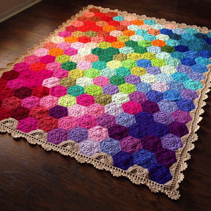 """Design Profile Pattern: Geometric Lace Materials: Hobby Lobby """"I love this yarn"""" and Red Heart Super Saver (I buy from knitting-warehouse.com for a softer product!) Size: 68x86in Construction: Groo…"""