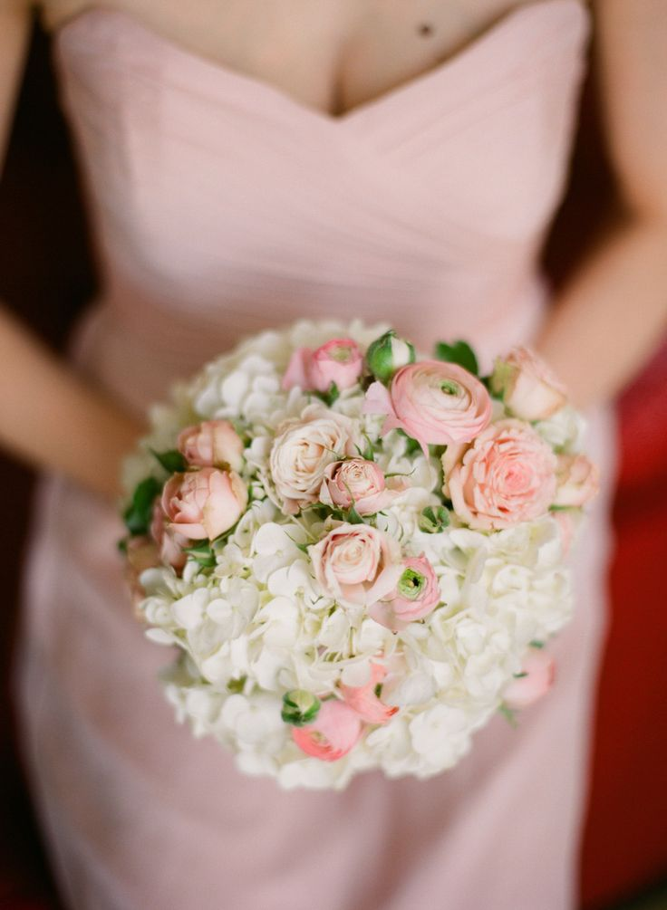 #pink #ranunculus and #hydrangea #bouquet | Photography by jenfariello.com, Florals by http://www.patsfloraldesigns.com, Design and Planning by http://www.justalittleditty.com  Read more - http://www.stylemepretty.com/2013/08/26/charlottesville-wedding-from-jen-fariello-photography-4/