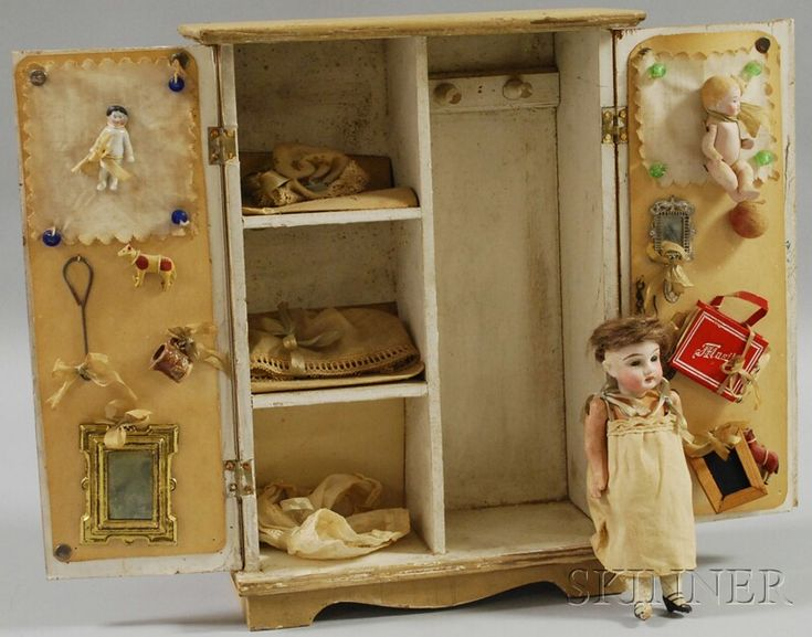 Small Bisque Head Doll with Wardrobe and Clothes | Sale Number 2565M, Lot Number 110 | Skinner Auctioneers