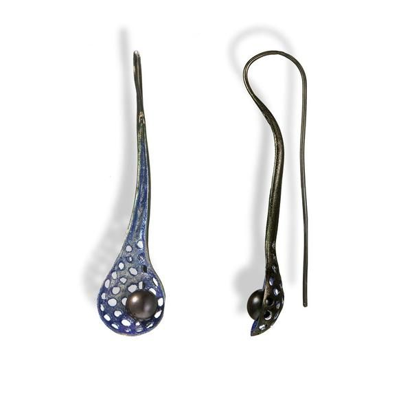 Handmade Black Plated Silver Light Purple-Silver Drop Earrings With A Purple Pearl - Anthos Crafts - 1
