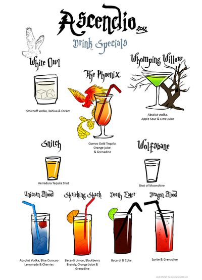 "Harry Potter Party Drinks-- I want a ""unicorn blood"" right now! yum!"