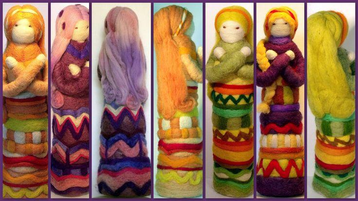 Muñecas inspiradas en el Hooponopono, hechas de vellón y aguja.