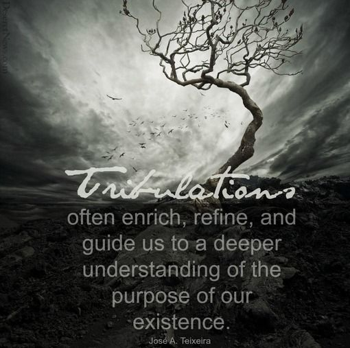 """""""Tribulations often enrich, refine, and guide us to a deeper understanding of the purpose of our existence."""" -Jose A. Teixeira"""