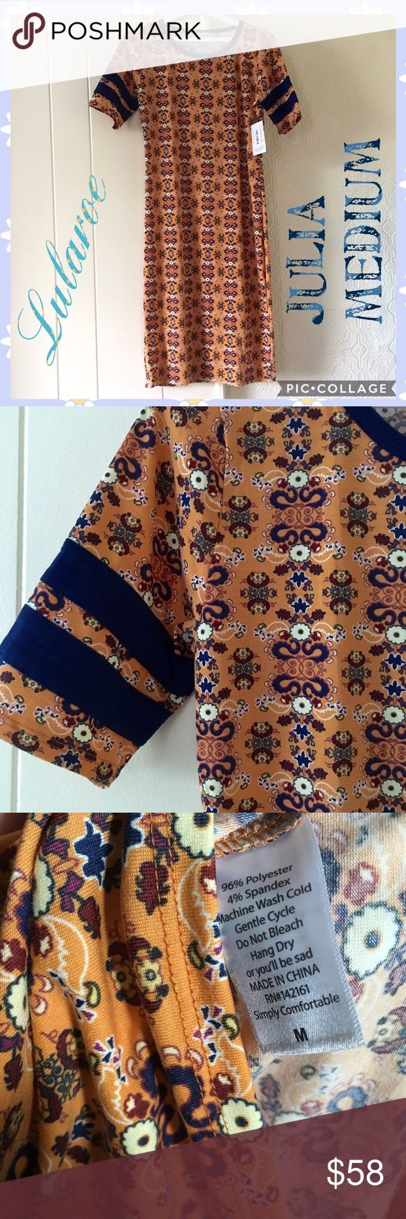 Lularoe Julia Med NWT Detailing is dark blue and yellow orange background! See print details. NWT medium. Julia hugs your body curves. Size up if you want a comfortable loose fit. Im a size 6 and usually wear medium in Julia. Pet and smoke free home. Pls check at my listing for unicorns. Thanks LuLaRoe Dresses